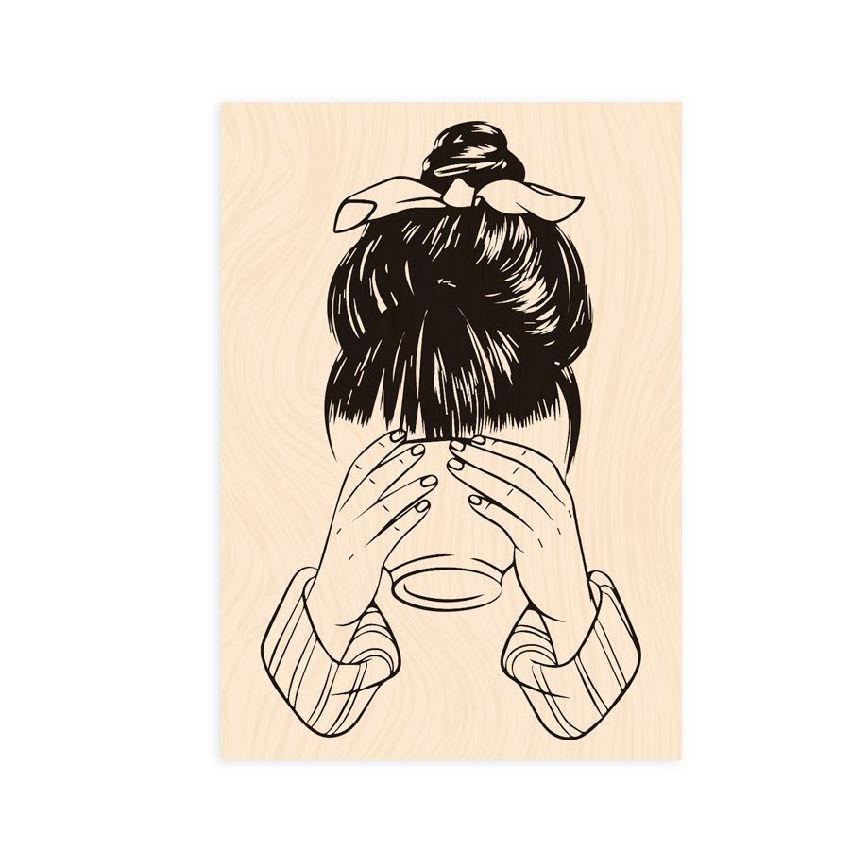Tampon bois Bienvenue chez moi JEUNE FILLE AU BOL par Les Ateliers de Karine. Scrapbooking et loisirs créatifs. Livraison rap...