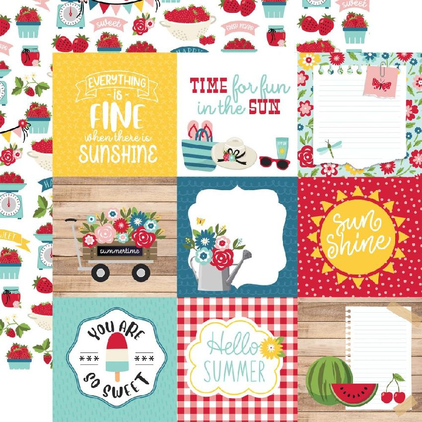 Papier imprimé A Slice Of Summer 10 X 10 CM JOURNALING CARDS par Echo Park. Scrapbooking et loisirs créatifs. Livraison rapid...