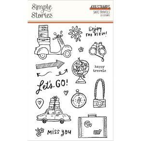 Tampons clear SAFE TRAVELS par Simple Stories. Scrapbooking et loisirs créatifs. Livraison rapide et cadeau dans chaque comma...