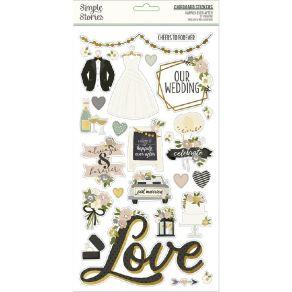 Stickers cartonnés HAPPILY EVER AFTER par Simple Stories. Scrapbooking et loisirs créatifs. Livraison rapide et cadeau dans c...