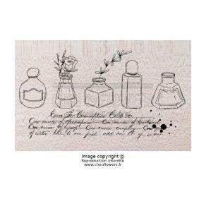 Tampon bois LES ENCRIERS par Chou and Flowers. Scrapbooking et loisirs créatifs. Livraison rapide et cadeau dans chaque comma...