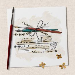 Tampon bois PLUME ET PINCEAU par Chou and Flowers. Scrapbooking et loisirs créatifs. Livraison rapide et cadeau dans chaque c...