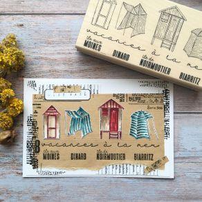 Tampon bois VACANCES A LA MER par Chou and Flowers. Scrapbooking et loisirs créatifs. Livraison rapide et cadeau dans chaque ...
