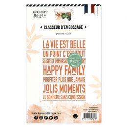 Plaque d'embossage HAPPY FAMILY par Florilèges Design. Scrapbooking et loisirs créatifs. Livraison rapide et cadeau dans chaq...