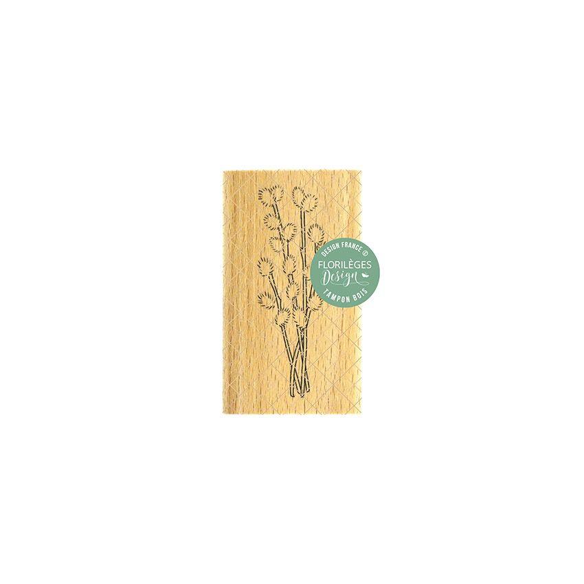Tampon bois BRANCHE À CHATONS par Florilèges Design. Scrapbooking et loisirs créatifs. Livraison rapide et cadeau dans chaque...