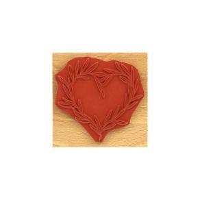 Tampon bois COEUR DE FEUILLES par Florilèges Design. Scrapbooking et loisirs créatifs. Livraison rapide et cadeau dans chaque...
