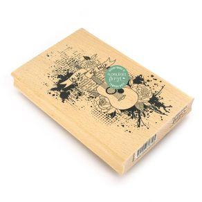 Tampon bois EN MUSIQUE par Florilèges Design. Scrapbooking et loisirs créatifs. Livraison rapide et cadeau dans chaque commande.