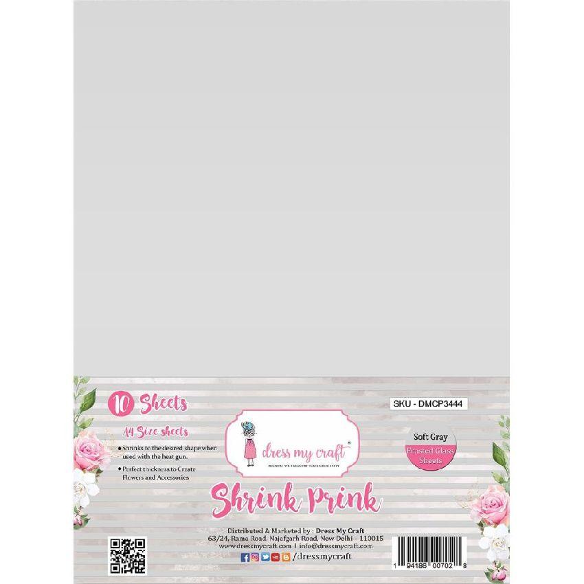 10 feuilles de plastique fou Shrink Pink Frosted SOFT GRAY par Dress My Craft. Scrapbooking et loisirs créatifs. Livraison ra...
