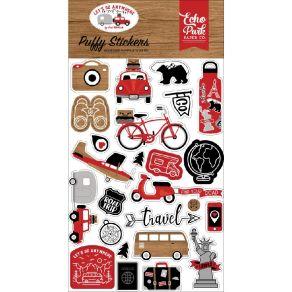 Stickers puffy LET'S GO ANYWHERE par Echo Park. Scrapbooking et loisirs créatifs. Livraison rapide et cadeau dans chaque comm...