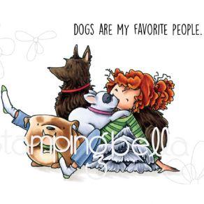 Tampon non monté TINY TOWNIE DAPHME & HER DOGS par Stamping Bella. Scrapbooking et loisirs créatifs. Livraison rapide et cade...