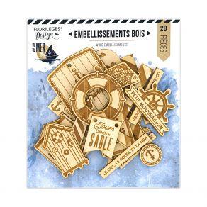 Embellissements bois VUE SUR MER par Florilèges Design. Scrapbooking et loisirs créatifs. Livraison rapide et cadeau dans cha...