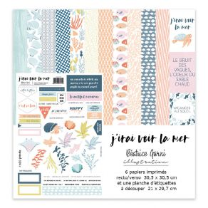 Kit collection J'IRAI VOIR LA MER par Béatrice Garni Illustration. Scrapbooking et loisirs créatifs. Livraison rapide et cade...
