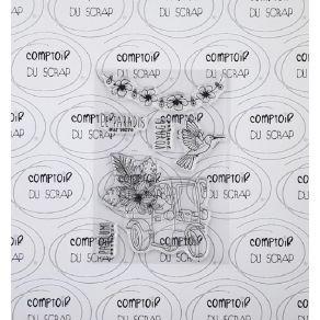 Tampon clear VACANCES EXOTIQUE par Comptoir du Scrap. Scrapbooking et loisirs créatifs. Livraison rapide et cadeau dans chaqu...