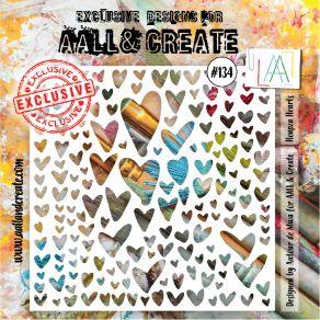 Pochoir AALL and Create HEAPZA HEARTS 134