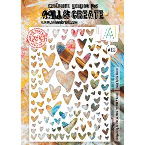 Pochoir AALL and Create HUNG UP ON HEARTS 133
