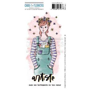Tampon non monté FILLE ARTISTE par Chou and Flowers. Scrapbooking et loisirs créatifs. Livraison rapide et cadeau dans chaque...