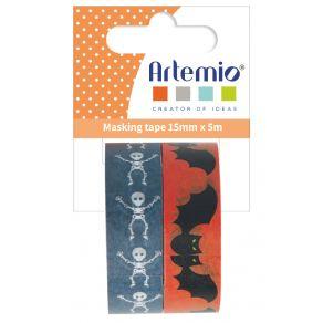 2 Masking Tape CHAUVE-SOURIS SQUELETTE par Artemio. Scrapbooking et loisirs créatifs. Livraison rapide et cadeau dans chaque ...