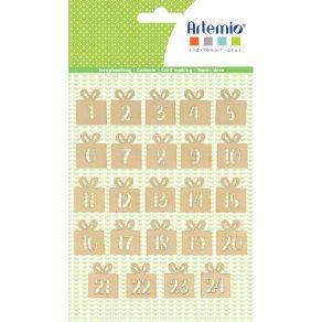 Embellissements bois CHIFFRE BOIS CALENDRIER AVENT CADEAUX par Artemio. Scrapbooking et loisirs créatifs. Livraison rapide et...