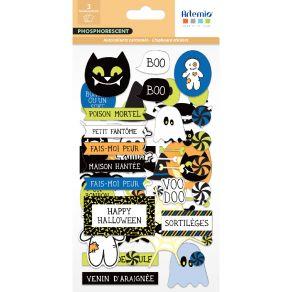 Stickers cartonnés phosphorescents HALLOWEEN par Artemio. Scrapbooking et loisirs créatifs. Livraison rapide et cadeau dans c...