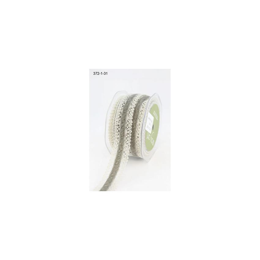 Ruban Crochet/Velour GRIS/IVOIRE