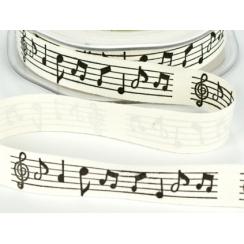 Ruban ivoire BLACK MUSICS NOTES  par May Arts. Scrapbooking et loisirs créatifs. Livraison rapide et cadeau dans chaque comma...