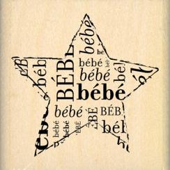 Tampon bois ETOILE BÉBÉ par Florilèges Design. Scrapbooking et loisirs créatifs. Livraison rapide et cadeau dans chaque comma...