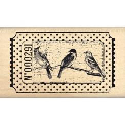 Tampon bois TICKET OISEAUX par Florilèges Design. Scrapbooking et loisirs créatifs. Livraison rapide et cadeau dans chaque co...