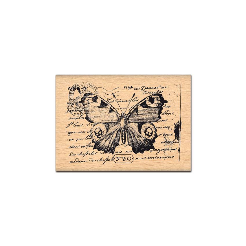 Tampon bois PAPILLON 203 par Florilèges Design. Scrapbooking et loisirs créatifs. Livraison rapide et cadeau dans chaque comm...