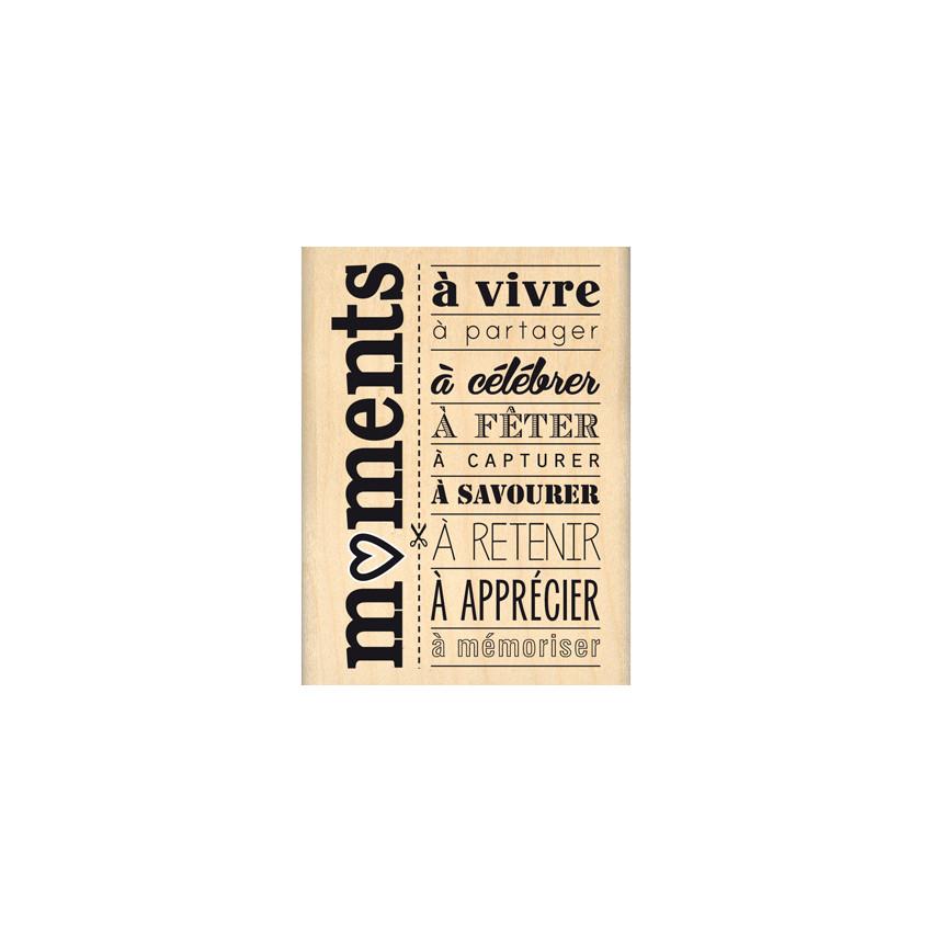 Tampon bois MOMENTS A CELEBRER par Florilèges Design. Scrapbooking et loisirs créatifs. Livraison rapide et cadeau dans chaqu...