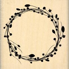 Tampon bois COURONNE DE FLEURS par Florilèges Design. Scrapbooking et loisirs créatifs. Livraison rapide et cadeau dans chaqu...
