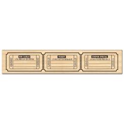Tampon bois TROIS TICKETS  par Florilèges Design. Scrapbooking et loisirs créatifs. Livraison rapide et cadeau dans chaque co...