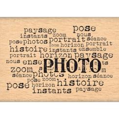 Tampon bois TEXTE PHOTO par Florilèges Design. Scrapbooking et loisirs créatifs. Livraison rapide et cadeau dans chaque comma...