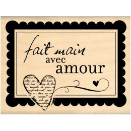 Tampon bois FAIT MAIN AVEC AMOUR par Florilèges Design. Scrapbooking et loisirs créatifs. Livraison rapide et cadeau dans cha...