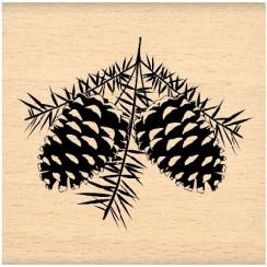 Tampon bois POMMES DE PIN  par Florilèges Design. Scrapbooking et loisirs créatifs. Livraison rapide et cadeau dans chaque co...