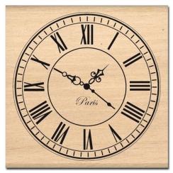 Tampon bois GRANDE HORLOGE par Florilèges Design. Scrapbooking et loisirs créatifs. Livraison rapide et cadeau dans chaque co...