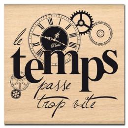 Tampon bois TEMPS QUI PASSE par Florilèges Design. Scrapbooking et loisirs créatifs. Livraison rapide et cadeau dans chaque c...
