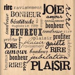 Tampon bois RIRE ET PLAISIR  par Florilèges Design. Scrapbooking et loisirs créatifs. Livraison rapide et cadeau dans chaque ...