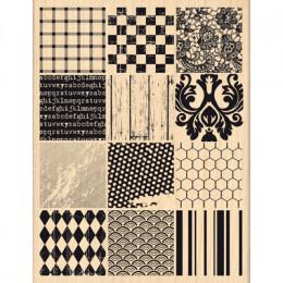 Tampon bois PATCHWORK DE MATIÈRES par Florilèges Design. Scrapbooking et loisirs créatifs. Livraison rapide et cadeau dans ch...