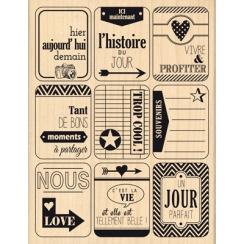 Tampon bois NEUF ETIQUETTES par Florilèges Design. Scrapbooking et loisirs créatifs. Livraison rapide et cadeau dans chaque c...