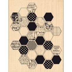 Tampon bois HEXAGONES  par Florilèges Design. Scrapbooking et loisirs créatifs. Livraison rapide et cadeau dans chaque commande.