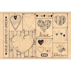 Tampon bois PATCHWORK DE COEURS par Florilèges Design. Scrapbooking et loisirs créatifs. Livraison rapide et cadeau dans chaq...