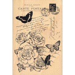 Tampon bois CARTE SHABBY par Florilèges Design. Scrapbooking et loisirs créatifs. Livraison rapide et cadeau dans chaque comm...