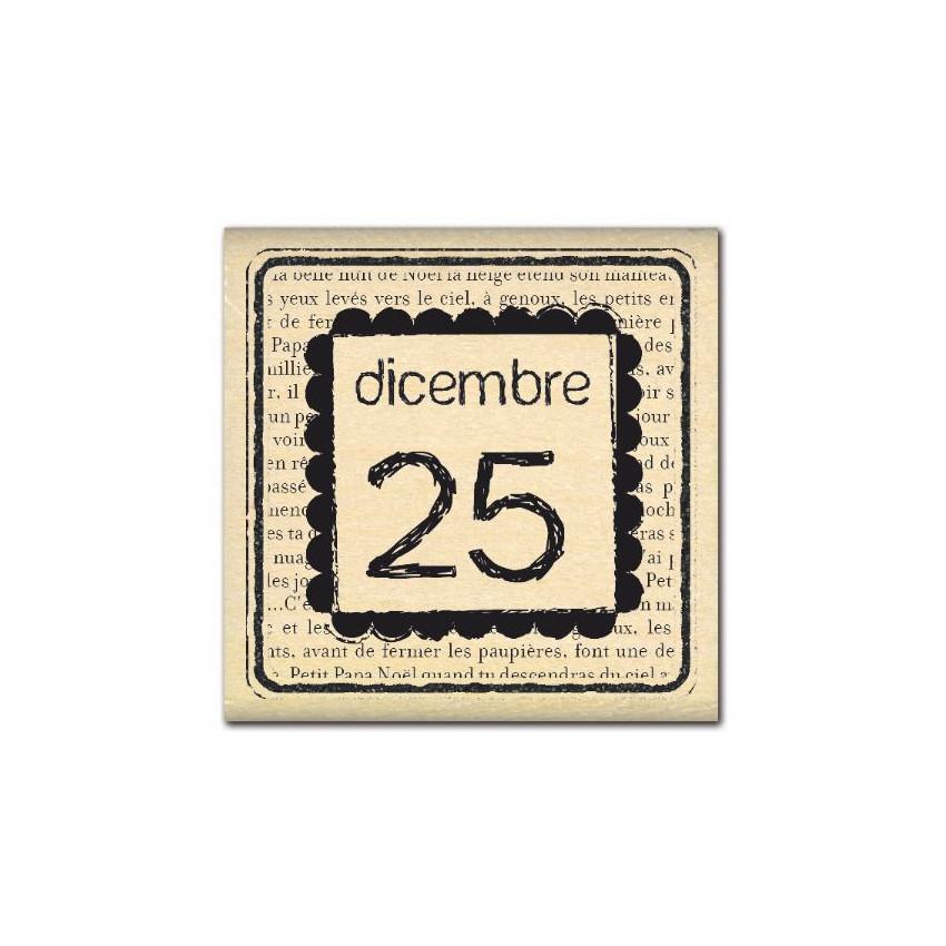 PROMO de -99.99% sur Tampon bois italien DICEMBRE 25 Florilèges Design