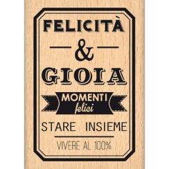 Tampon bois italien FELICITA E GIOIA par Florilèges Design. Scrapbooking et loisirs créatifs. Livraison rapide et cadeau dans...