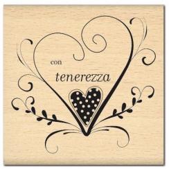 Tampon bois italien CON TENEREZZA par Florilèges Design. Scrapbooking et loisirs créatifs. Livraison rapide et cadeau dans ch...