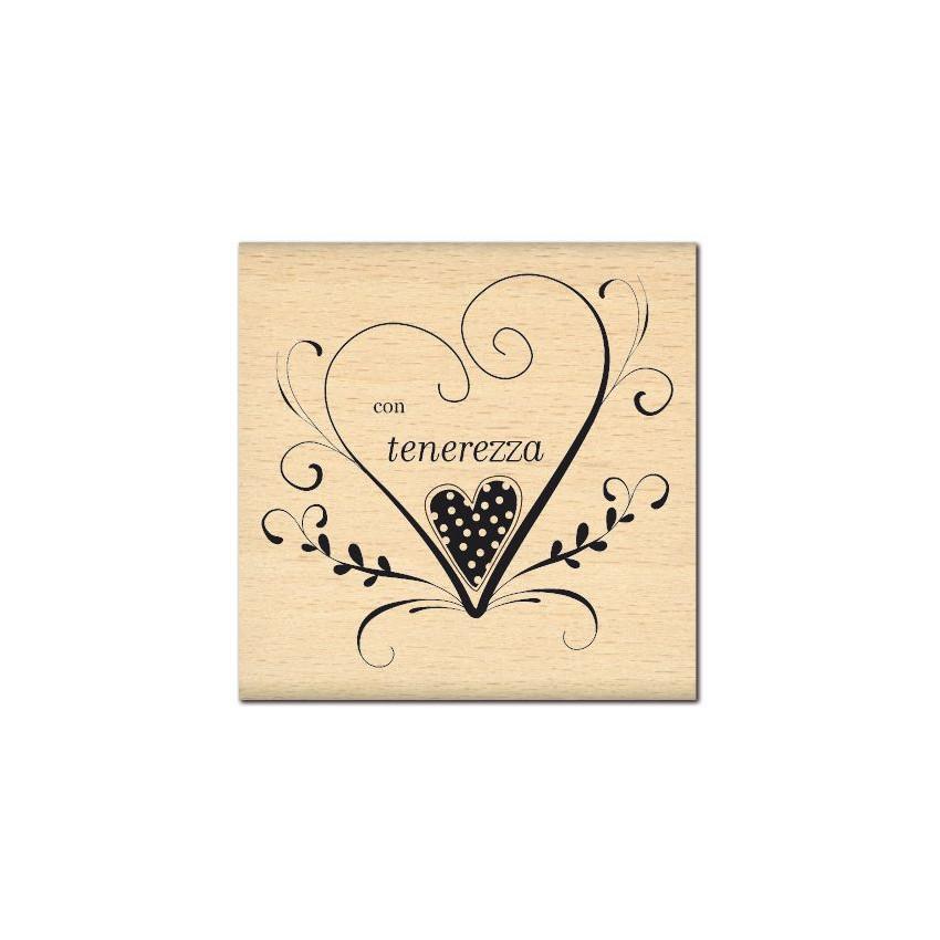 PROMO de -99.99% sur Tampon bois italien CON TENEREZZA Florilèges Design