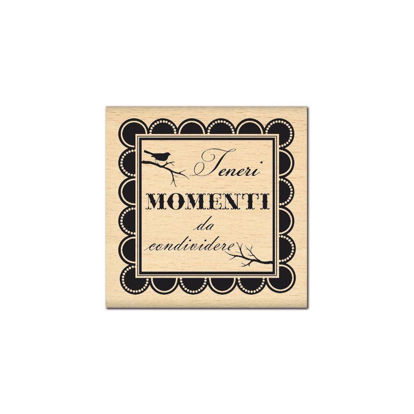 PROMO de -99.99% sur Tampon bois italien TENERI MOMENTI Florilèges Design