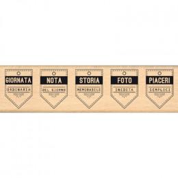 Tampon bois italien CINQUE BANNER par Florilèges Design. Scrapbooking et loisirs créatifs. Livraison rapide et cadeau dans ch...