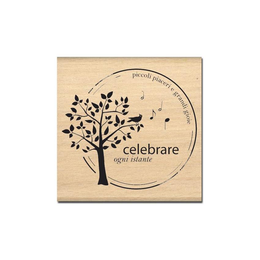 Tampon bois italien CELEBRARE OGNI ISTANTE par Florilèges Design. Scrapbooking et loisirs créatifs. Livraison rapide et cadea...