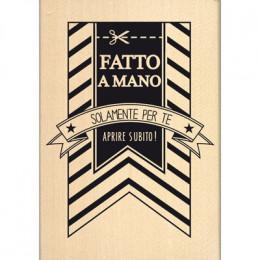 Tampon bois italien BANNER FATTO A MANO par Florilèges Design. Scrapbooking et loisirs créatifs. Livraison rapide et cadeau d...